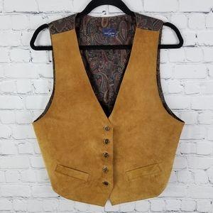 DANIEL HECHTER   suede & paisley button up vest